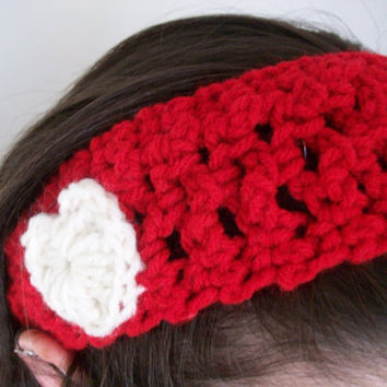 Red Crocheted Headband with White Heart