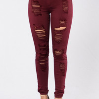Havin It Skinny Jean - Burgundy
