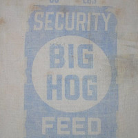 1940s Big Hog Feed Sack Fabric from Security Mills, Knoxville, Tennessee, with Blue Print, ~~by Victorian Wardrobe