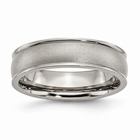 Men's Titanium Ridged Edge Satin and Polished Wedding Band Ring: RingSize: 8.5