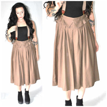brown SILK suspender skirt vintage 80s 1980s long PLEATED mid length skirt + suspenders small