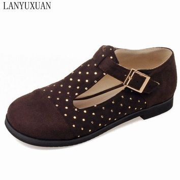 2017 Time-limited Sale Brand 34-51 Mary Janes T Strap Patent Round Toe Women's Shoes Square Heels Platform Spring Autumn E1206