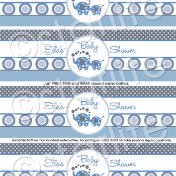 Elephant Baby Shower - Printable Water Bottle Labels - Favors - Blue Gray - PRINTABLE
