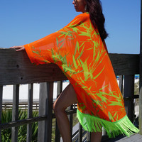 Beach cover up, coverup with Frindge, swimsuite coverup, chiffon coverup, resort wear, must have for any beach vacation, Bird of Paradise