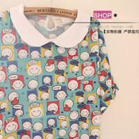 Colorful Lovely Smile Face Lapel Collar Short Sleeves Wide Blouse Top 3 Colors