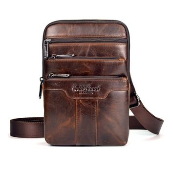 New Men Oil Wax leather First layer Cowhide Travel Hiking Cross Body Messenger Shoulder Fahion High Quality Sling Chest Bag