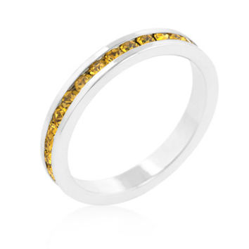 Stylish Stackables with Yellow CZ Ring