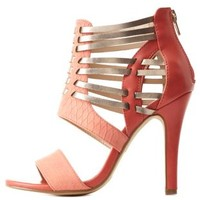 Color Block Huarache Caged Strappy Heels by Charlotte Russe