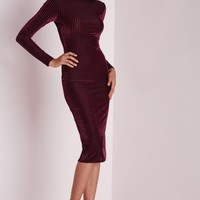Missguided - Velvet Ribbed Long Sleeve Midi Dress Burgundy