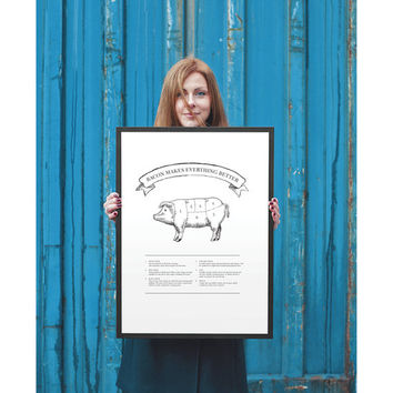 Pork | FOOD ART PRINT | A5/A4/A3/A2 - Food Poster, Pork, Pork Cuts, Graphic Design, Typography, Black and White Print
