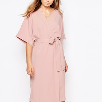 Twin Sister Kimono Midi Dress with Tie Belt
