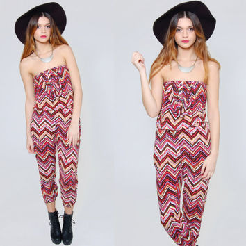 Vintage 90s Jumpsuit  Colorful ETHNIC  Zig Zag STRIPE Strapless Long Romper Small