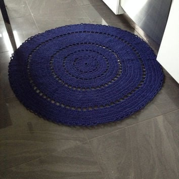 "42"" - 105cm, Custom Mad Woman Rug/Crochet Rug/Rugs/Rug/Area Rugs/Floor Rugs/Large Rugs/Handmade Rug/Wool rug/navy blue"