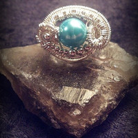 SIZE 6 Sterling Silver Wire Wrapped Ring Swarovski Pearl Handmade
