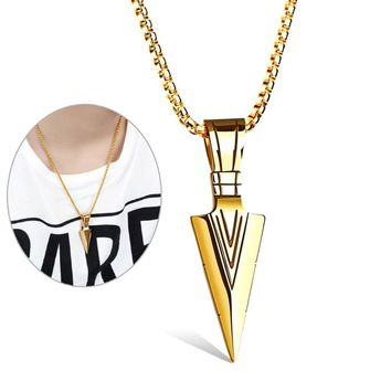 Women Men Necklace Stainless Steel Spearhead Arrowhead Pendant Necklaces Chocker Jewelry @M23