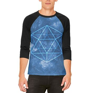 Sacred Geometry Icosahedron Crystal Wind Mens Raglan T Shirt
