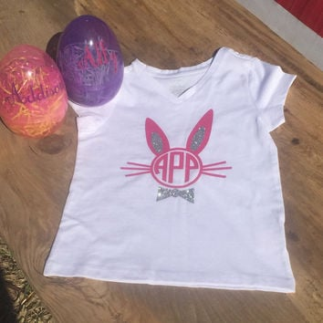Easter bunny monogram tshirt with personalized Easter egg, Easter shirt, bunny ears monogram, Easter monogram, little girl easter