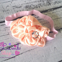 Peach Sweet Baby Headband, Flower Girl Baby Headbands, Newborn Girl Head band, Infant Hair Band, Baby photography props, Canada