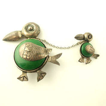 SALE: Bird Brooches - Sterling Silver - Mexico - 1940's - Vintage