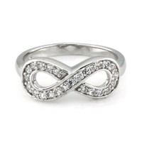 925 Sterling Silver Cubic Zirconia Infinity Symbol Ring