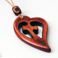 Cross in a Heart Necklace - Handcrafted Wood Pendant - CristherArt Jewelry