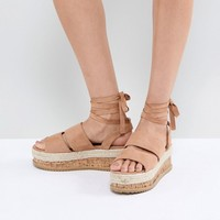 Lost Ink Natural Beige Ankle Tie Flatform Sandals at asos.com