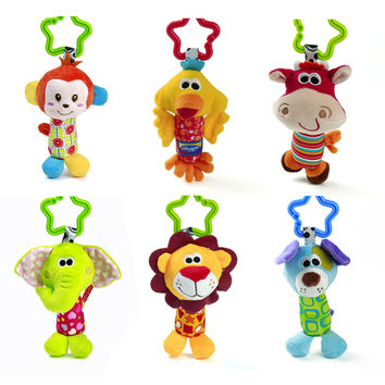 1pc Baby Plush Toy Crib Bed Stroller Hanging Ring Bell Toy Soft Baby Rattle Early Educational Doll