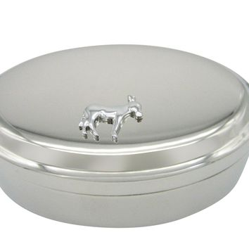 Silver Toned Donkey Pendant Oval Trinket Jewelry Box