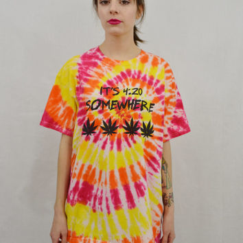 Tie Dye Shirt Pot Leaf Large Mens Hippie Stoner 420 Soft Grunge Unisex Womens Handmade Tie Dye Red Orange Yellow Rasta Spiral Pattern
