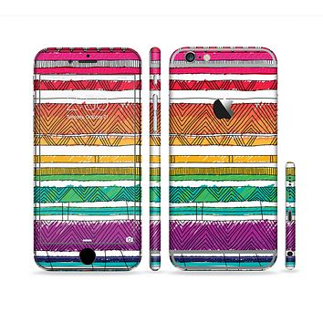 The Crayon Colored Doodle Patterns Sectioned Skin Series for the Apple iPhone 6s Plus