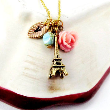 Personalized Charm Necklace /Eiffel Tower/ Stamped Initials / Charms with Flower and Gold Rose leaf/Great gift- FREE SHIPPING.