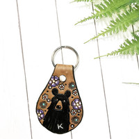 Monogram Mama Bear Leather Key Fob, Black Bear, Western Cowgirl Leather, Painted Leather, Personalized Key Fob
