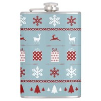 Christmas Sweater Pattern, Red White on Ice Blue Hip Flasks