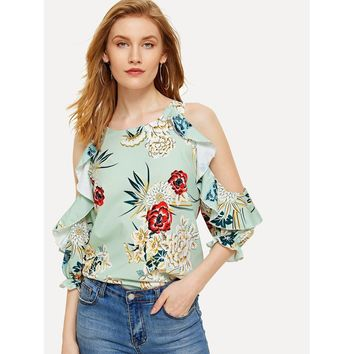Floral Print Open Shoulder Frill Trim Blouse
