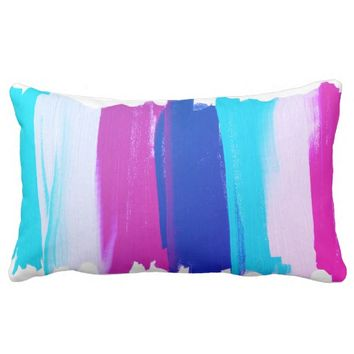 Abstract Art Lines Stripes Pink Turquoise Cushion