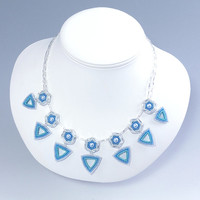 Hexagon and Triangle Spike Pendant Necklace, Turquoise & Blue, 378-1ne-trq