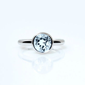 Aquamarne ring, engagement ring, white gold, simple engagement, bezel, blue, aquamarine engagement, solitaire