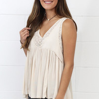 T-Back Lace Accent Tank {Stone}