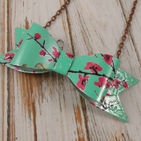 NEW Bow Tie Necklace.  Recycled Soda Can Art.  Arizona Tea