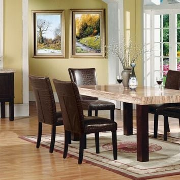 Acme 70130-32 7 pc fraser light brown faux marble top dining table set