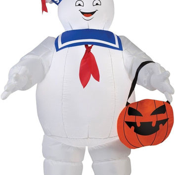 Gemmy Airblown Inflatable Stay Puff with Pumpkin Tote/Ghostbusters - 3.5' Tall