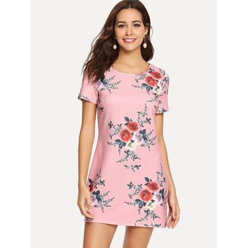 Scallop Trim Botanical Print Tunic Dress Pink