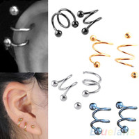 2017 Hot 1 PCS Punk Stainless Steel S Spiral Helix Ear Stud Lip Nose Ring Cartilage Piercing