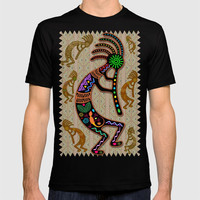 Kokopelli Rainbow Colors on Tribal Pattern T-shirt by bluedarkatlem