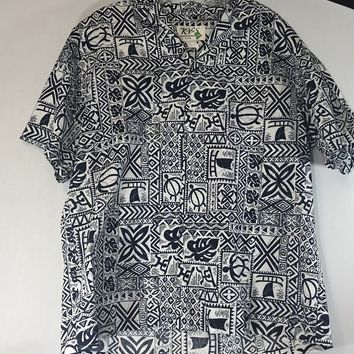 EUC MENS KY'S REVERSE PRINT HAWAIIAN CAMP RESORT COCKTAIL SHIRT XL