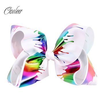 "8"" Jumbo Unicorn Rainbow Hair Bow With Alligator Clip"