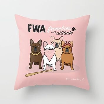 FWA by Frenchie Love Throw Pillow by Frenchie Love