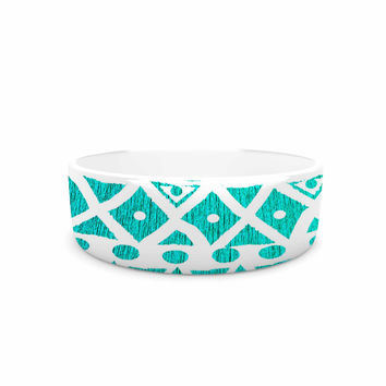 "Nika Martinez ""Aquamarine Tribal"" Teal Blue Pet Bowl"