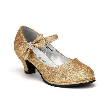 Little Angel Tasha-685E Glitter Bow Mary Jane Pump - Gold