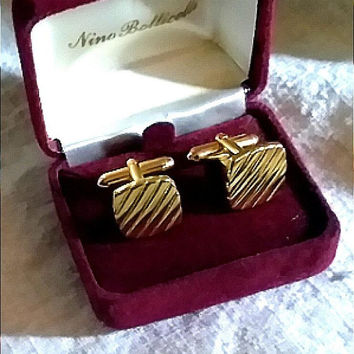 Striated Diagonal Vintage 1940's Gold-Tone Grooms Wedding Cufflinks Special Occasion Classic Style Toggle Cuff Links Unisex Shirt Cufflinks